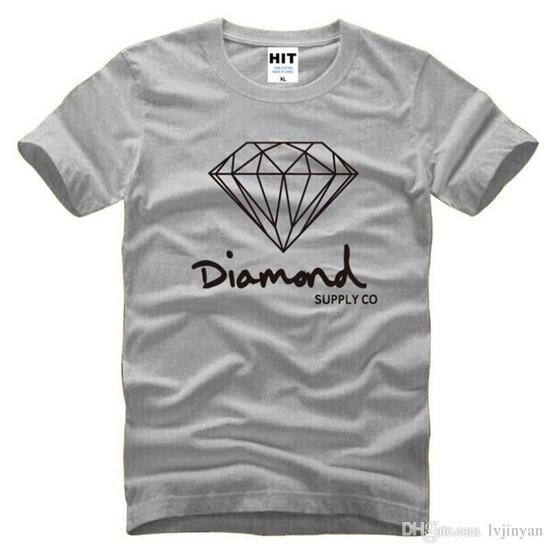 Nouveau Coton D'été Hommes T-shirts De Mode À Manches Courtes Imprimé Diamant Fourniture Co Mâles Tops T-shirt Skate Marque Hip Hop Sport Vêtements