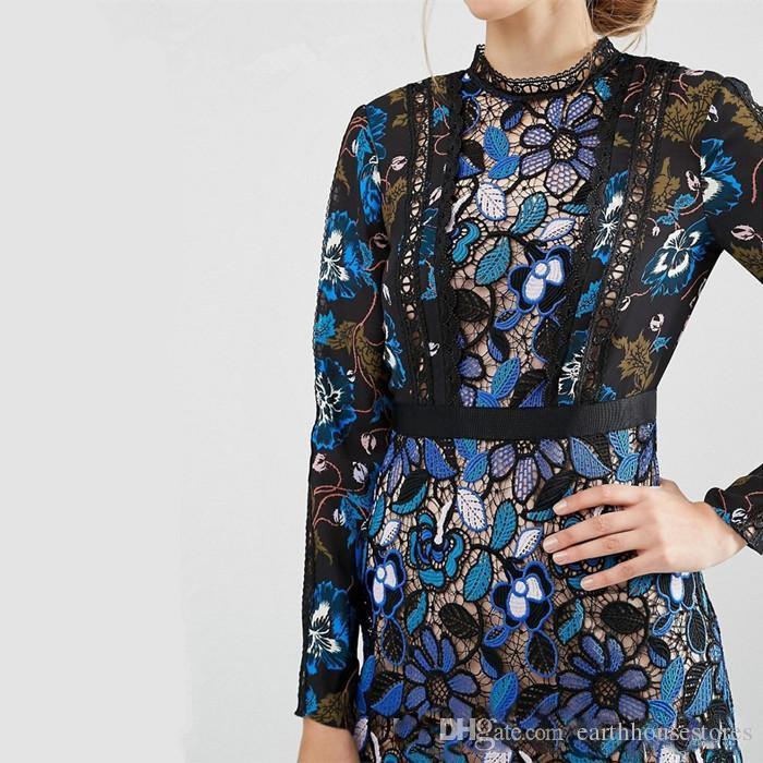 Royaume-Uni auto-portrait 2017 été mode Designer piste crochet crochet fleur dentelle évider Casual party robe Mini femelle robe