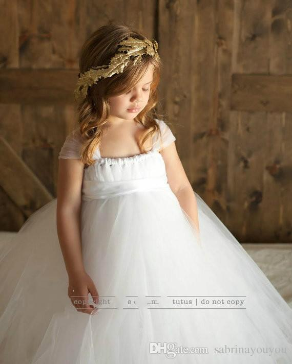 dcc4f7d1a 2019 Pure White Tutu Tulle Baby Bridesmaid Flower Girl Wedding Dress Fluffy  Ball Gown USA Birthday Evening Prom Cloth Party Dress From Sabrinayouyou,  ...