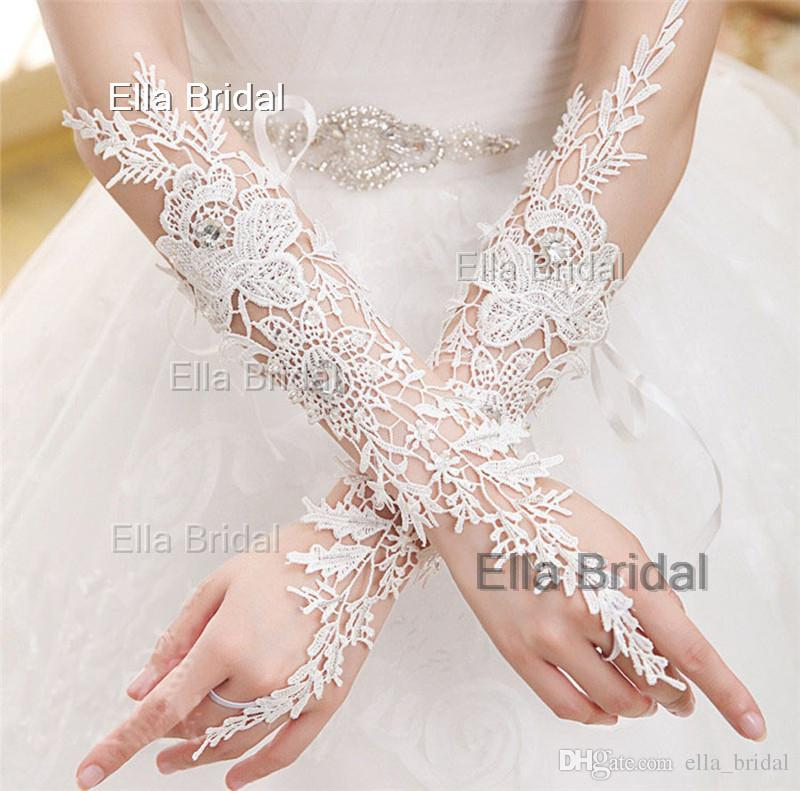 High Quality Lace Bridal Gloves Fingerless Elbow Length Crystal Beaded Sexy Wedding Prom Party Gloves In Stock Factory Sale