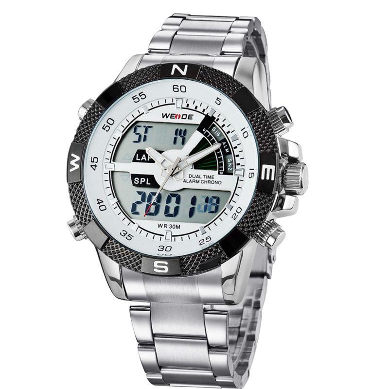 4afcb8e09ed Luxo Masculino WEIDE Luxury Brand Men Watch LED Backlight Clock Stainless  Steel Quartz-watch Sport Watches Male Relogio Masculino De Luxo Luxo  Masculino ...