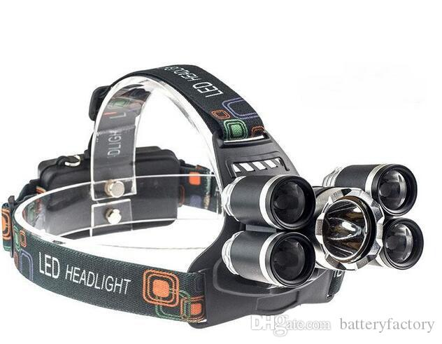 5 phares LED 8000 lumens Cree XM-L T6 lampe frontale haute puissance LED phare + 18650 batterie + chargeur + chargeur de voiture