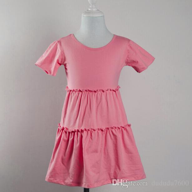 filles en gros bébé à manches courtes robe élégante enfants coton flutter robe de gâteau d'été