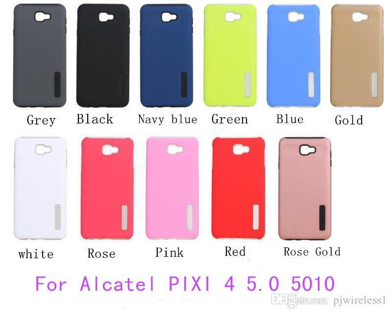 wholesale dealer afab1 02e78 For Alcatel Pixi 3 5.0 5015 PIXI 4 5.0 5010 Hybrid Dual Layer Armor case  Protective Back Case Shockproof Cover