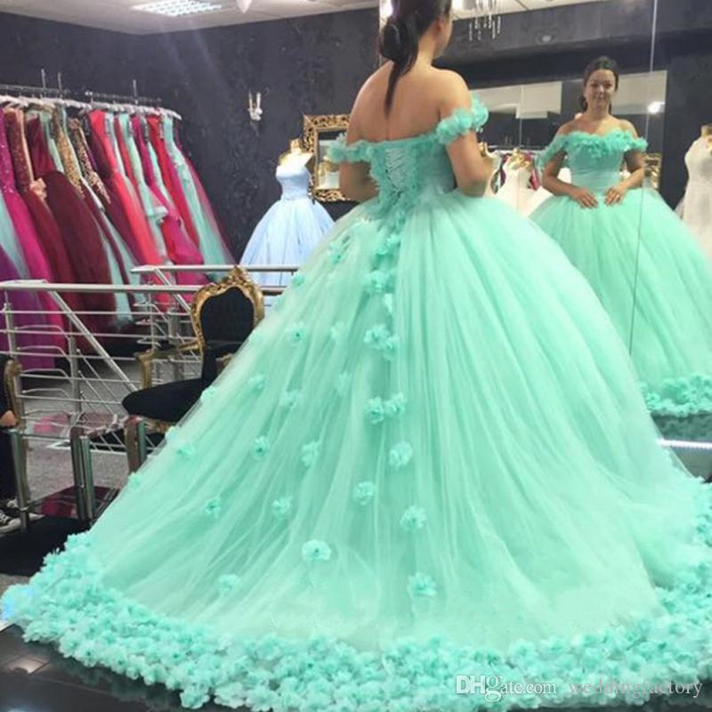 d5f124e70ab Charming Ball Gown Prom Dress Handmade Flowers Off The Shoulder Mint Green  Puffy Tulle Quinceanera Gowns Evening Party Wear Corset Back Lavender Prom  ...