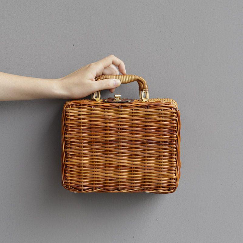 Bolso de paja hecho a mano de verano nuevo bolso de maquillaje bolsa de moda caja de moda para mujer