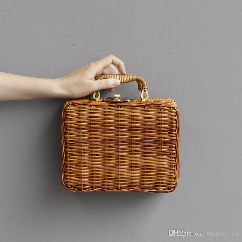 Saco de palha artesanal verão nova bolsa de maquiagem saco de mulheres bolsa de caixa de moda