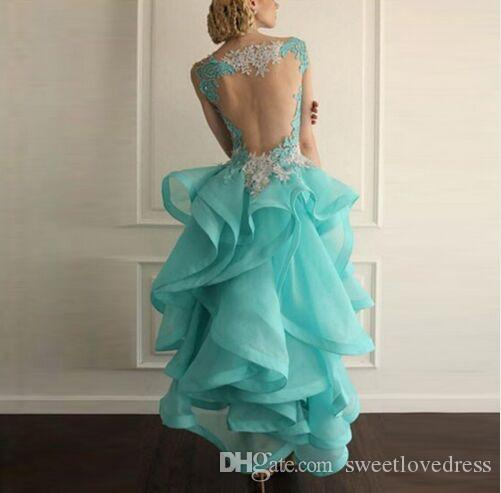 elegant cocktail party dress v-neck backless organza appliqued sleeveless Cascading Ruffles ball gown hi-lo prom dress beach evening wears