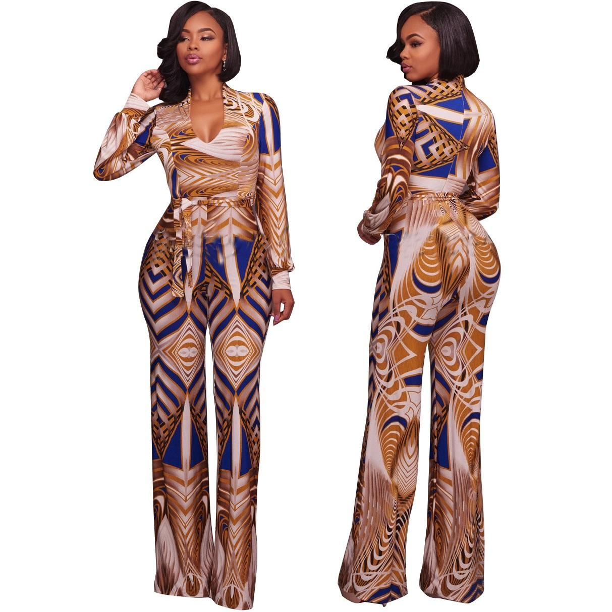 3787ad0d38 2019 Womens Pattern Print Fashion Long Maxi Jumpsuits Rompers Plus Size  Sexy Bandage Full Length One Piece Pants For Female From Wodedipan1977