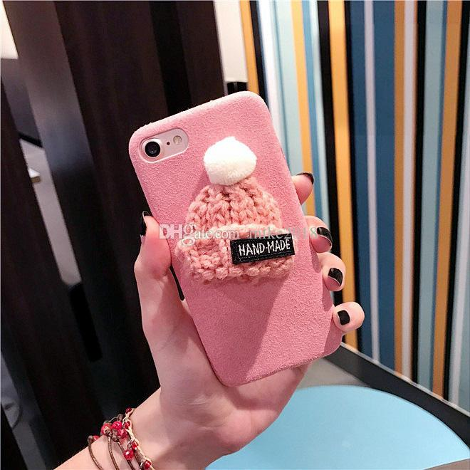 2017 Korea fashion cartoon knitted hat christmas cap winter warm plush cell phone case cover For Iphone6 6s/6plus 6splus/7/7plus