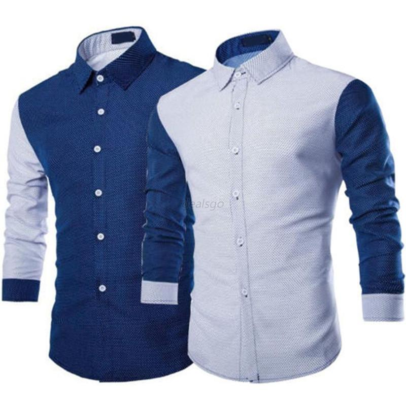 93ca7418603 2019 Autumn Men Fit Shirts Blue White Celebrity Fashion Business Casual  Long Sleeve Formal Shirt Top Plus Size M 2XL From Blueberry11