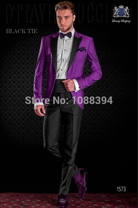 2018 Wholesale 2016 Italian Design Black Lapel Purple Wedding Suits ...