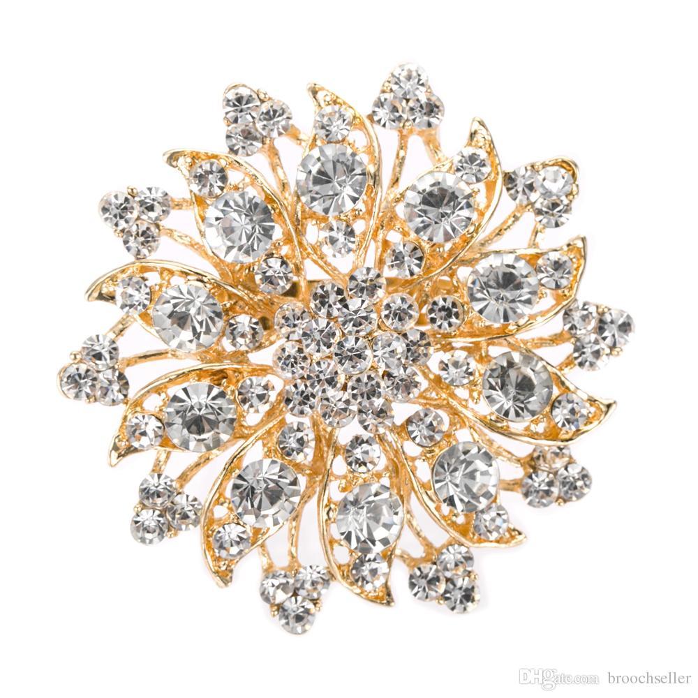 Mooi ontwerp Rhodium Verzilverd Duidelijk Diamante Diamante Bloem Bruiloft Broche