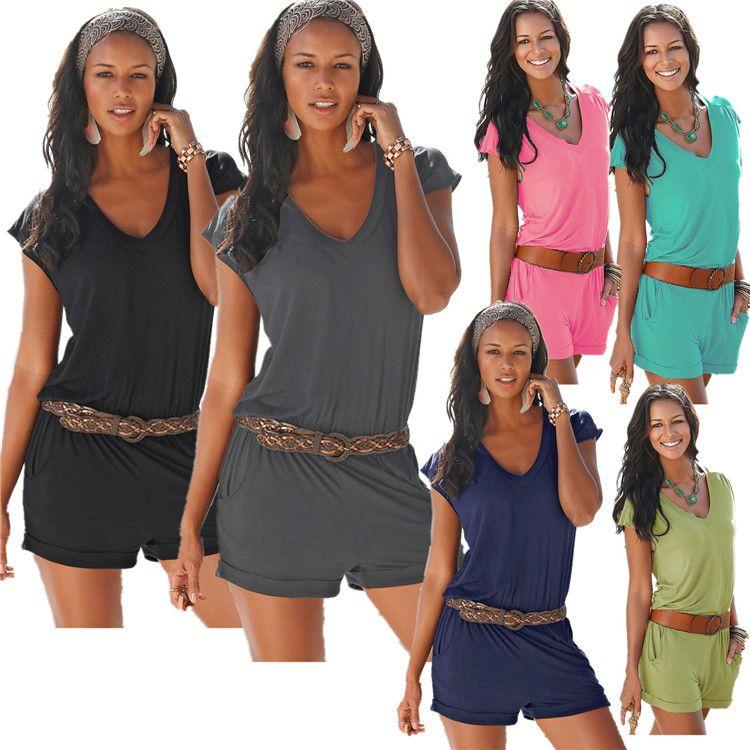 5 sizes Sexy Sleeveless bodysuit women jumpsuit shorts romper summer V-neck zipper pockets playsuit beach overalls femme frock QQSS