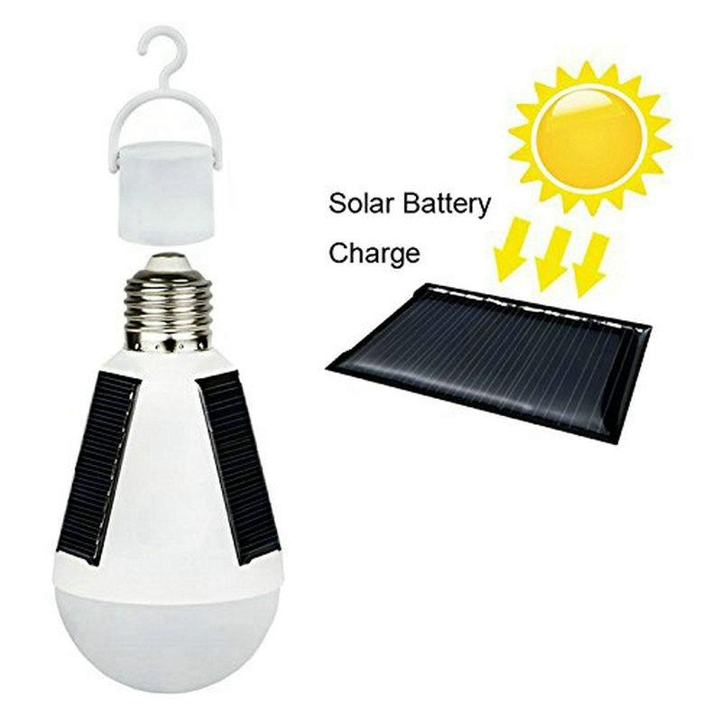 Edison2011 E27 7W Solar Lamp 85-265V Energy Saving Light LED Intelligent Lamp Rechargeable Solar Emergency Bulb Daylight