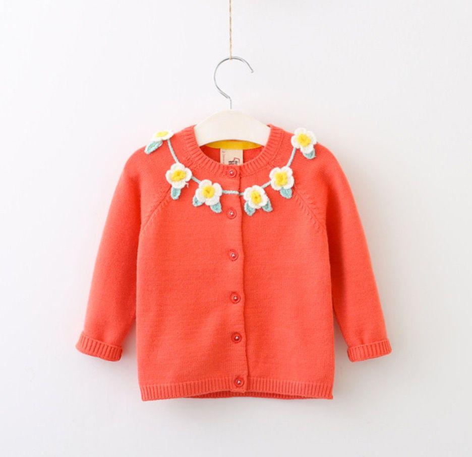 Everweekend Girls Floral Neckline Knitted Cardigans Sweater Jacket ...
