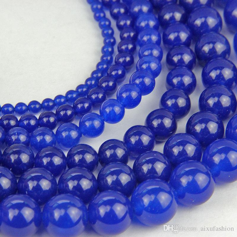 Blue Jade Stone Perles Imitation Lapis Lazuli Bleu Calcédoine Perles Perles Rondes Pour La Fabrication De Bijoux BRICOLAGE Bracelet Collier 4/6/8/10 / 12mm