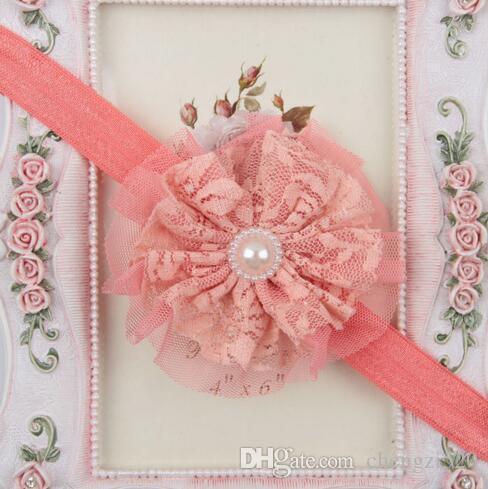 Hair Accessories Cute Baby Girls Child Pearl Rose Flower Lace Headwear Elastic Headband Wholesale YH446