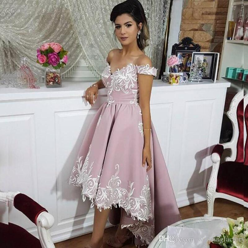 2018 New Arrival High Low Prom Dress Off The Shoulder Short Front Long Back  Embroidery Custom Made Evening Party Gowns Juniors Prom Dresses Lds Prom  Dresses ... ecc92f4b7