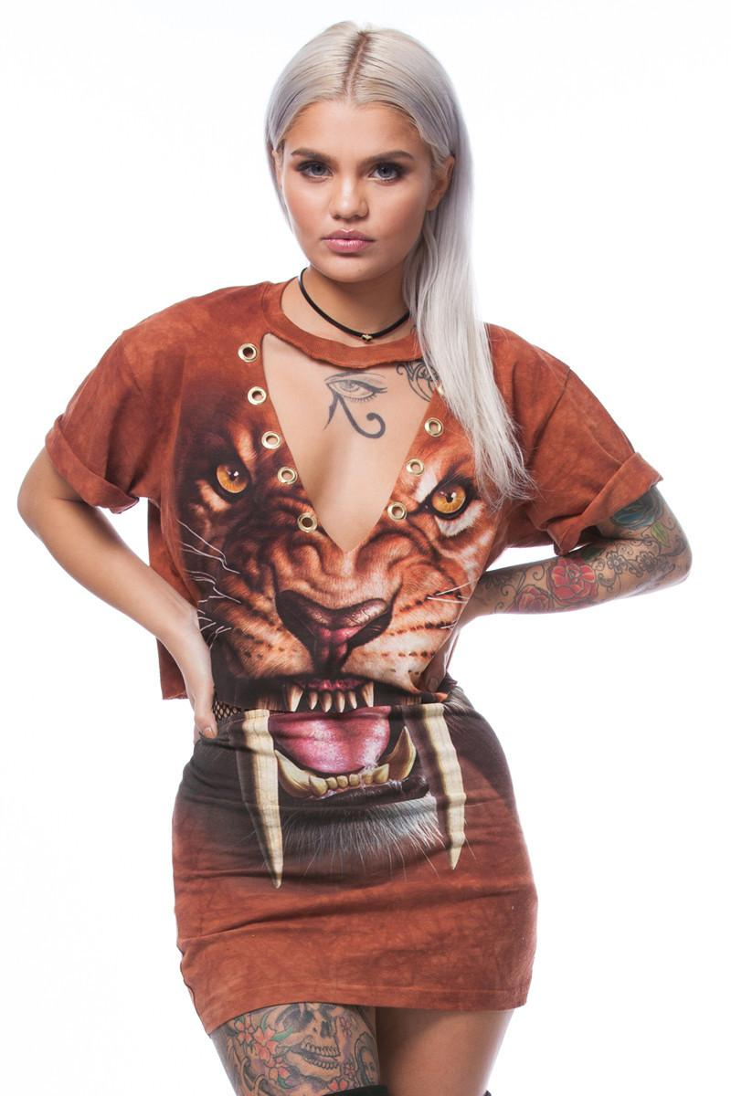 2019 Newest Printed Saber Toothed Tiger Women S Fashion Two Piece
