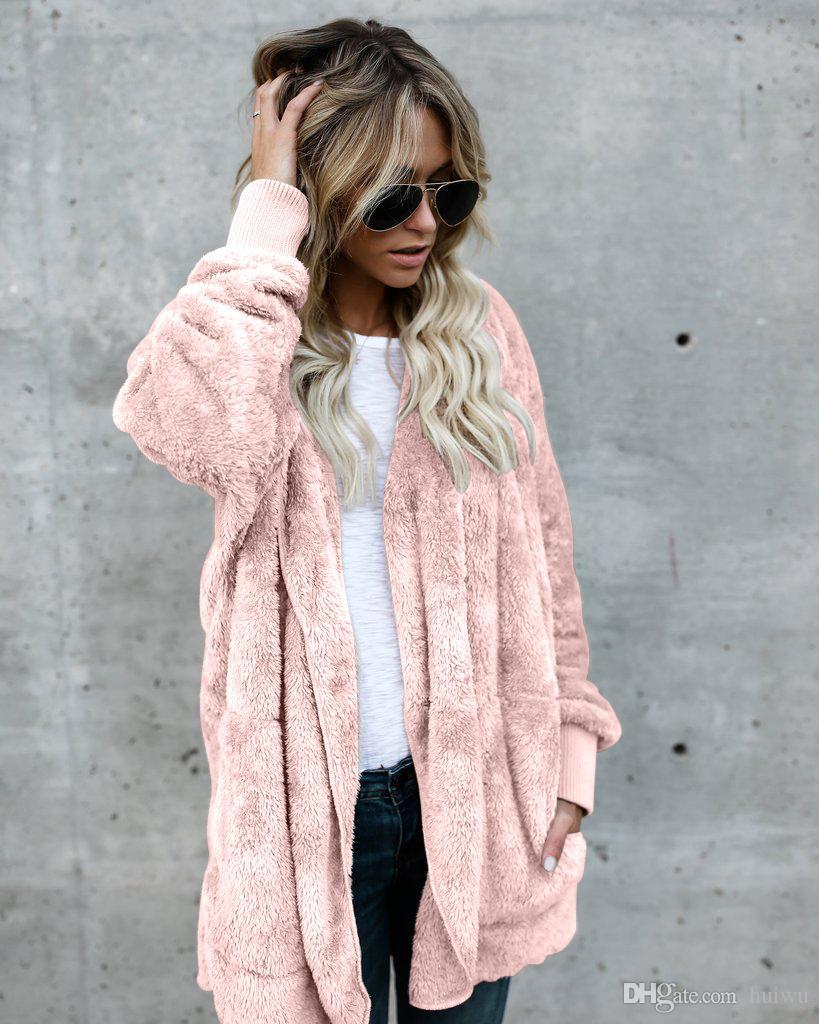 Sahte Kürk Kadınlar Moda Kapşonlu Streetwear İki Tarafı Aşınma Kış Coat Kadınlar Sıcak ve Rahatlık Palto