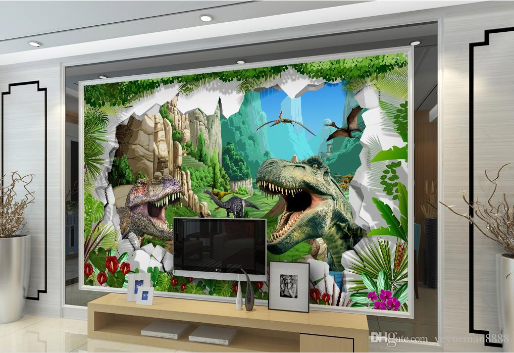 3d Wallpaper Mural Custom Dinosaur Oil Painting Living Room Tv Wall Photo Beautiful Wallpapers Bedroom From Yeyueman8888