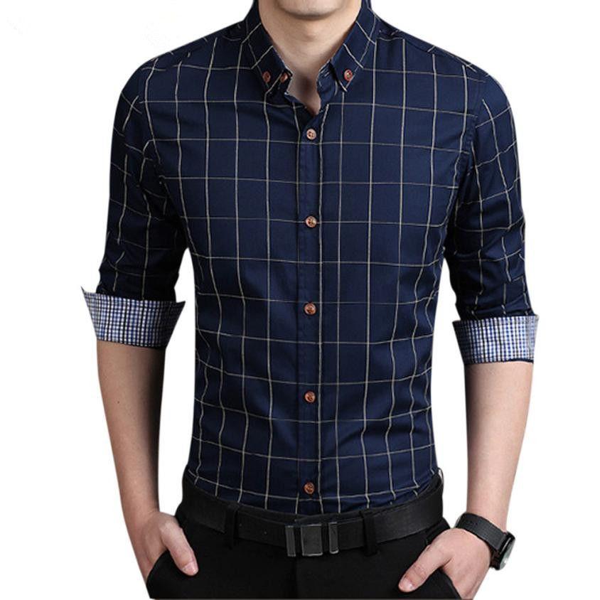 2018 wholesale new shirt men solid color plus size square for Discount mens dress shirts online