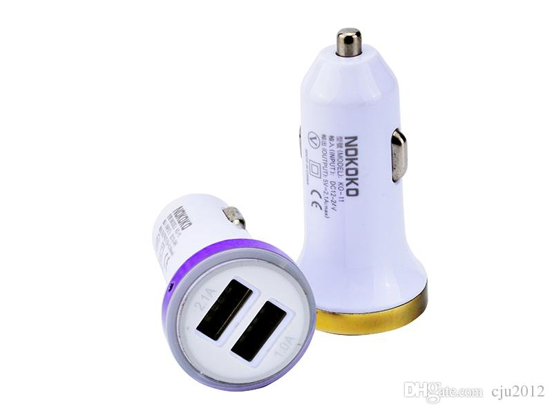 / UP Led luz colorida Universal 2-Port Dual USB carregador de isqueiro 2.1A + 1A Car para iphone Samsung mp3 gps smart phone