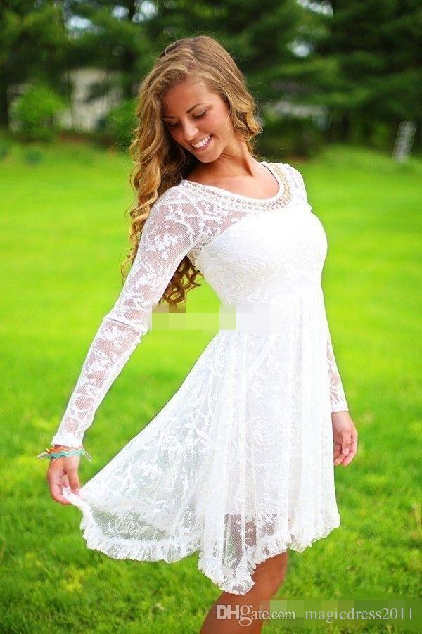 Short Casual Country Wedding Dresses With Long Sleeves Crystal Neckline Knee Length Full Lace Wedding Gowns Short Beach Bridal Dress 2019