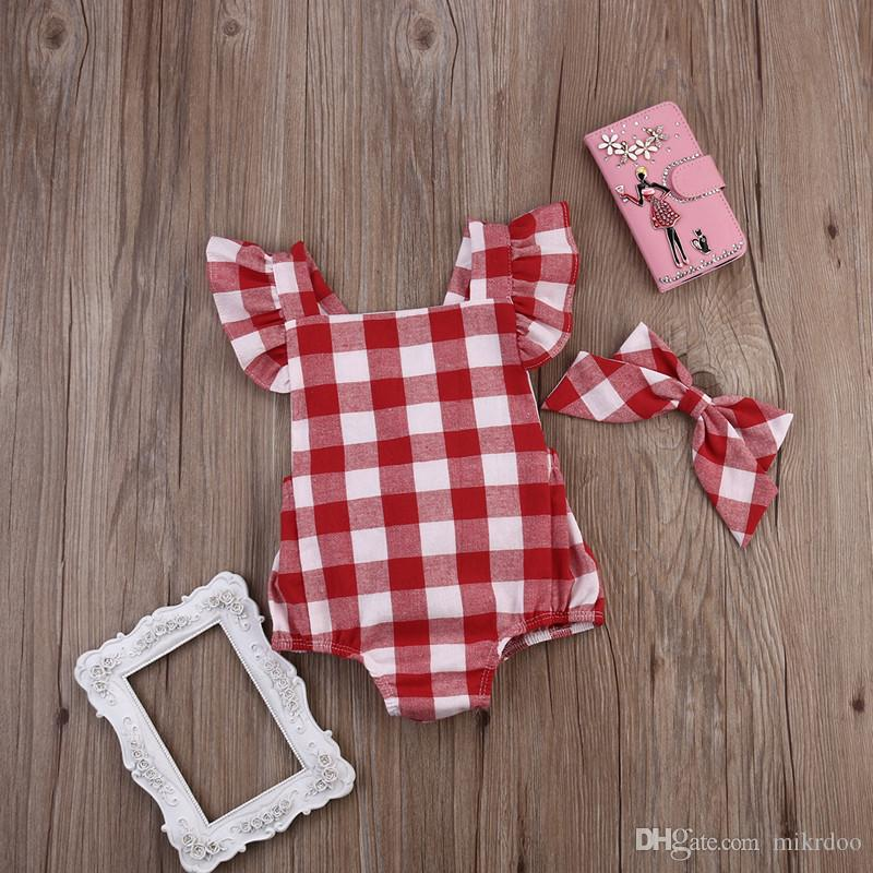 Mikrdoo Newborn Casual Baby Rompers Infant Kids Girl Red Plaid Romper Cotton Fashion Jumpsuit with Headband Outfit Bow Top Clothes 0-18M