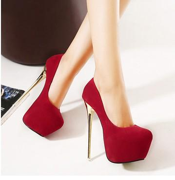 2aa26bf4ea8 16CM High Heels Women Shoes Round Toe Gold Stiletto Women Pumps Nubuck  Leather Slip-On Sexy Club Party Women Pumps Size 35-40