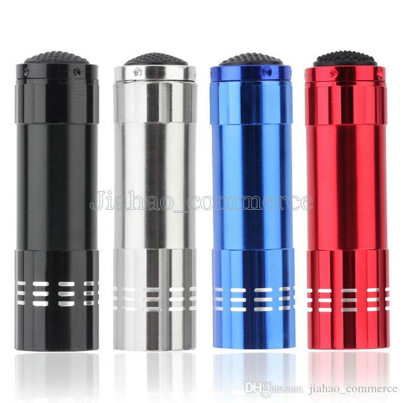 9LED 미니 알루미늄 UV 자외선 9 LED 손전등 Blacklight 토치 라이트 램프