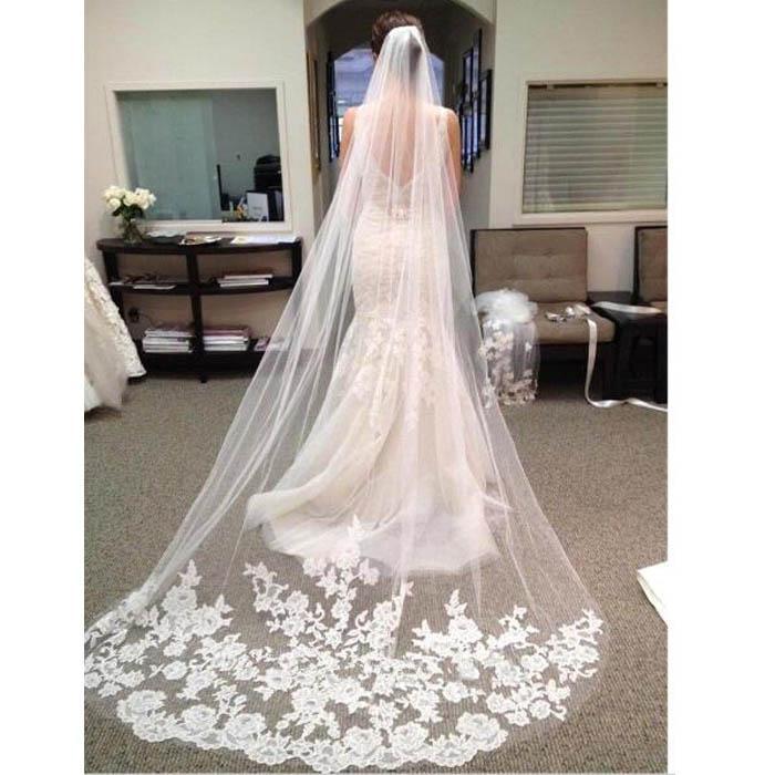 Vendita calda 3 M Velo da sposa Morbido tulle lungo velo da sposa con pizzo bianco Avorio Accessori matrimoni / eventi