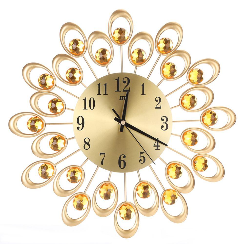 Vintage Metal Art Wall Clock Luxury Diamond Flower Large Wall Watch ...