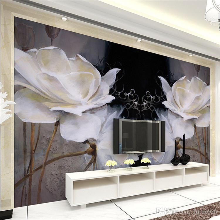 European bedroom TV background wallpaper wall murals modern simple European oil painting seamless nonwovens black warm magnolia flowers