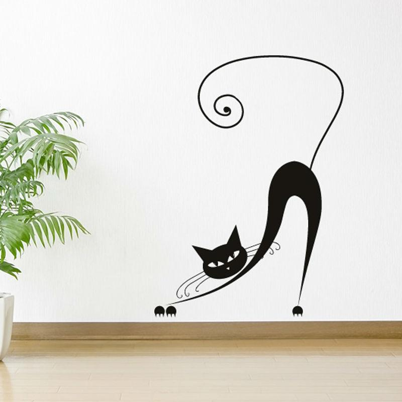 Bending Yawn Siamese Cat Wall Stickers Baby Bedroom Wall Decor Art