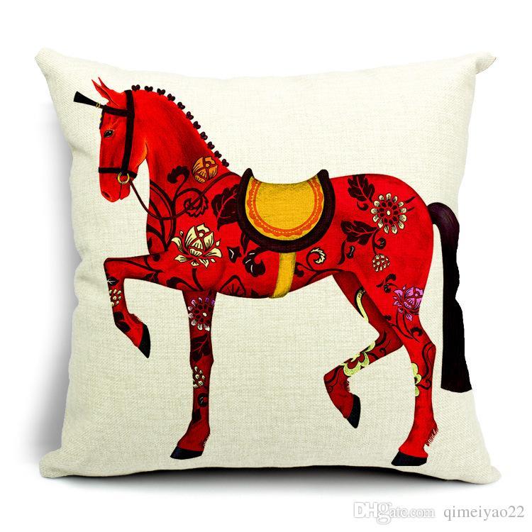Decorative Red Horses Throw Pillow Cover Case European Royal Crown Cotton Linen Cushion Cover for Sofa Home Decor Capa Para Almofada