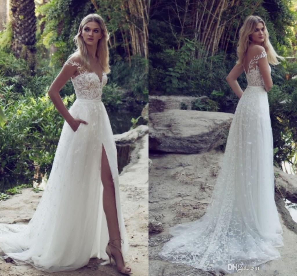Newest Elegant Lace Appliques Tulle Beach Wedding Dresses High Split V Neck Backless Belt Country Limor Rosen Bridal Gowns