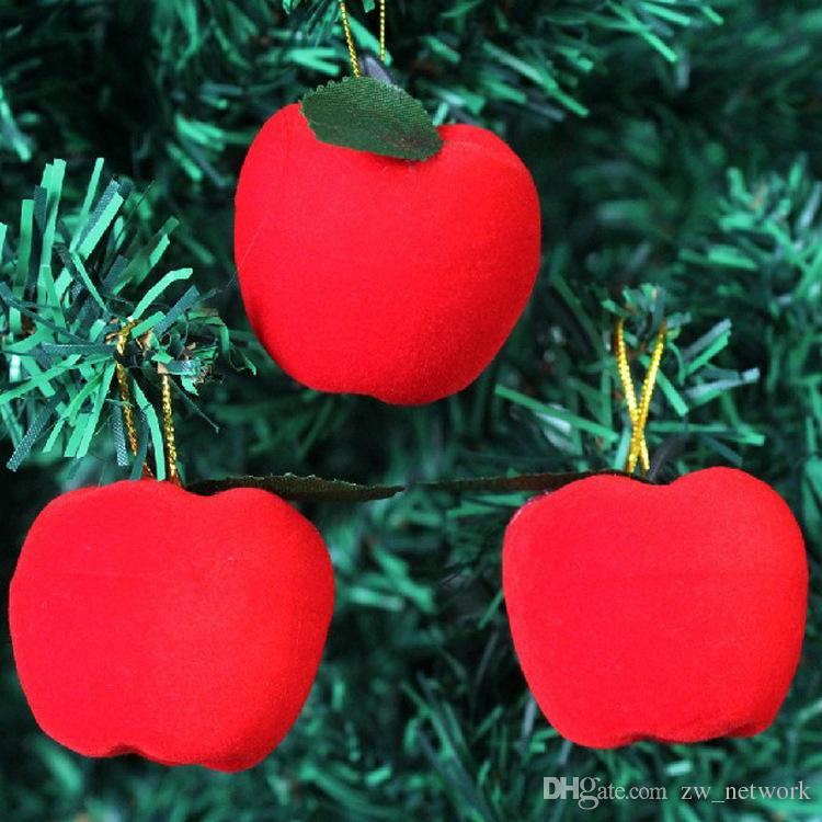 2017 Chiristmas Tree Apple decorazione 12 pz / lotto Artificiale piccolo mini Mela rossa decorazione regalo l'albero di natale ornamento vendita calda
