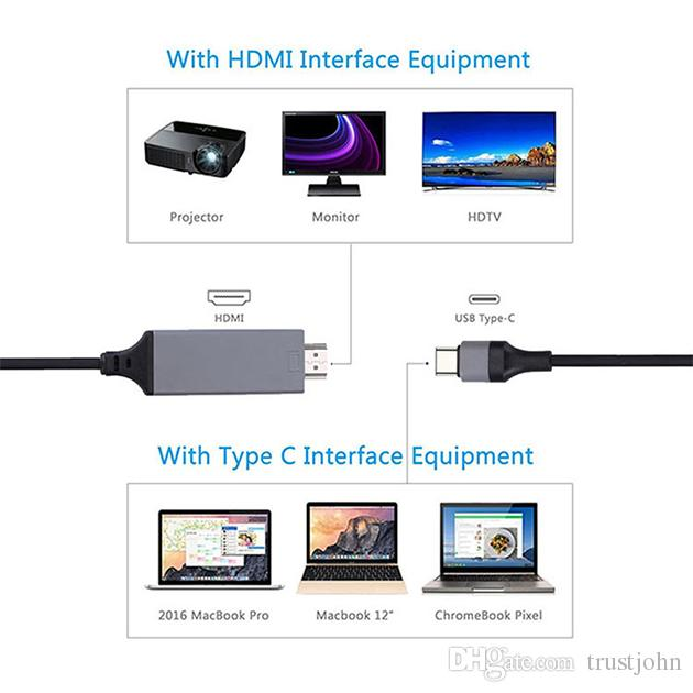 Type C to HDMI USB C to HDTV Cable, WOPOW 6.6FT 2.0M USB 3.1 Type C Male to HDMI Male Adapter for 2016 MacBook Pro 2017 MacBook