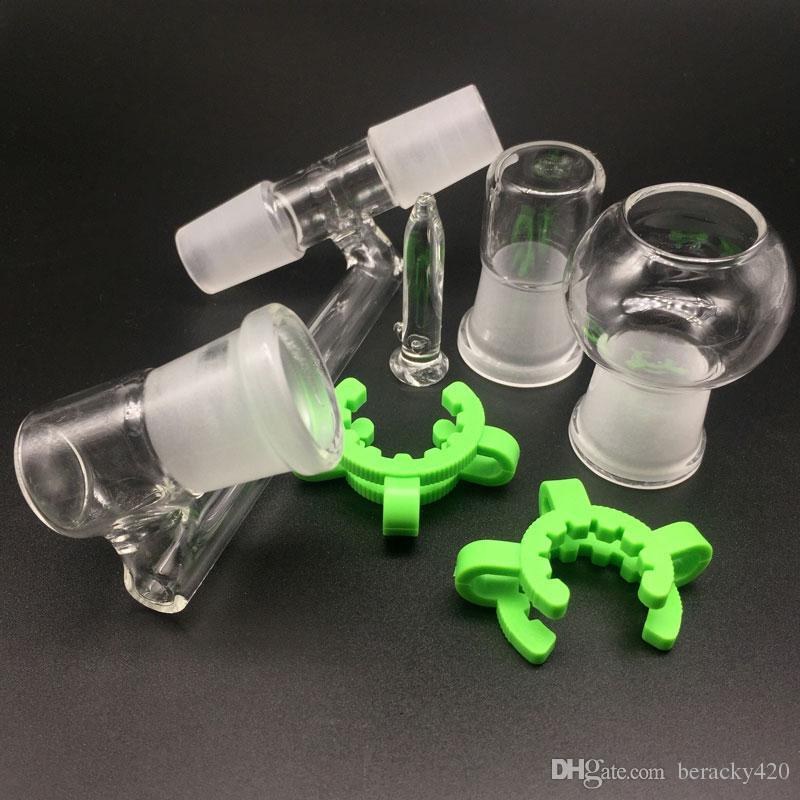 Adaptadores desplegables de vidrio Adaptador de colector de cenizas Reclaim de 3 articulaciones 14.4 mm o 18.8 mm Con clip Keck para plataformas de aceite Bong de vidrio
