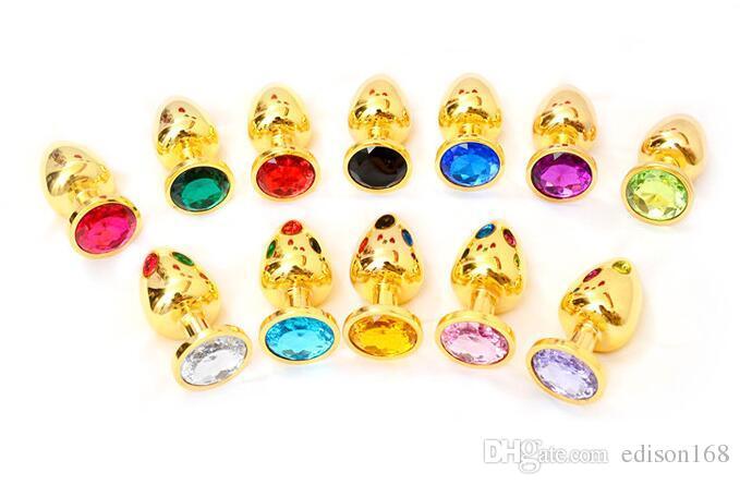 Nueva S Tamaño Unisex Atractiva Joyería de Cristal de Metal de Oro de Acero Inoxidable Plug Anal Butt Booty Beads Adulto Bdsm Sexo Ano Juguetes Varios Color