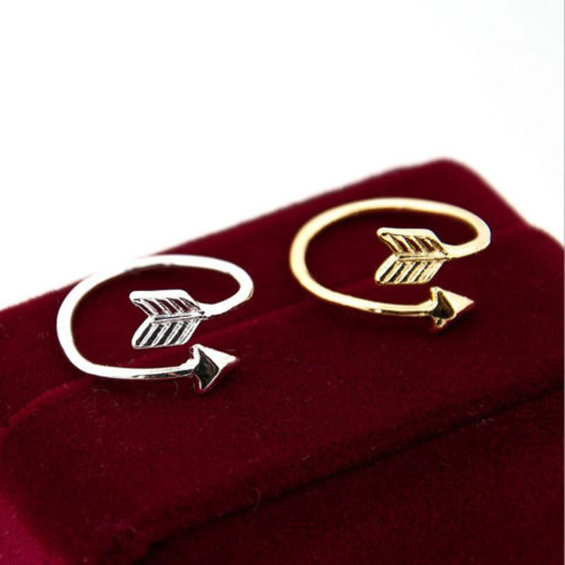 Cute 18K Gold Plated Tiny Arrow Finger Ring Women Men Classic Adjustable Aneis Boho Beach Vntage Party Jewelry Gift