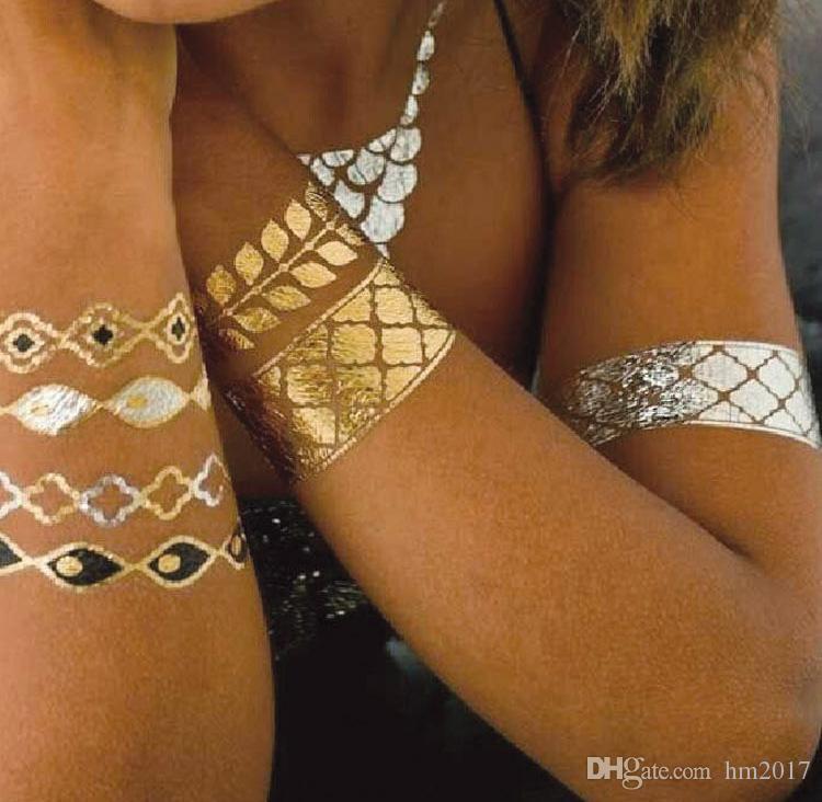 Metallic Henna Temporary Tattoo Sticker Waterproof Gold Flash Tattoos Body Art 21*15cm Tatoo Body Choker Makeup Tool