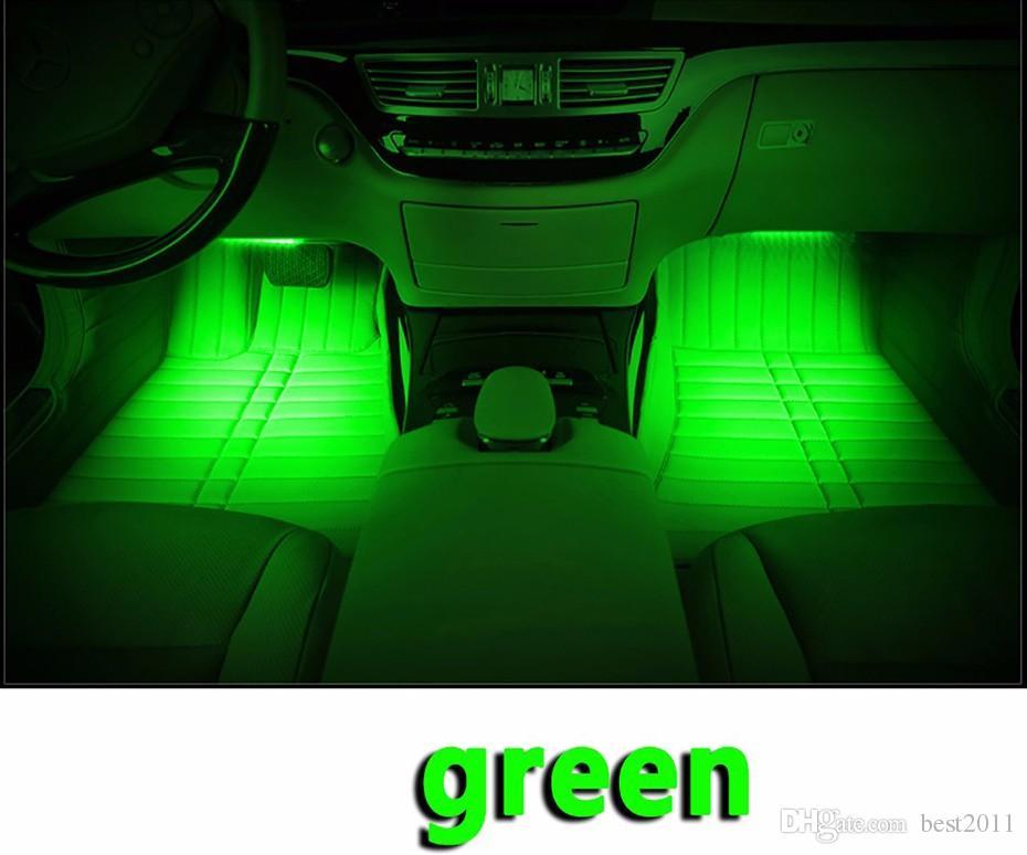 RGB 36 LED Voiture Charge 12 V 10 W Glow Intérieur Décoratif 4 en 1 Atmosphère Bleu À L'intérieur Pied Lampe de Lumière À Distance Contrôle de la Musique
