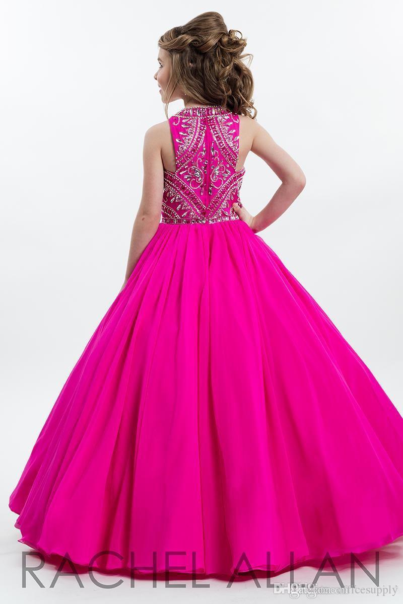 Sıcak Fuşya Sparkly Gençler için Prenses Kız Pageant Elbiseler Boncuk Rhinestone Rhinestone Kat Uzunluk Çiçek Çocuklar Örgün Balo Elbiseleri