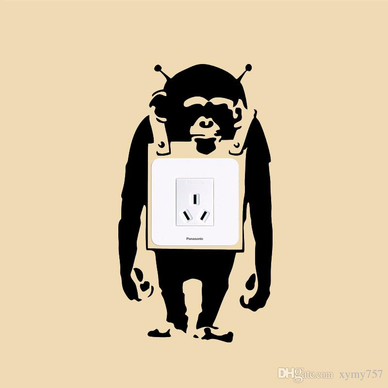 2017 Hot Sale Cool Graphics Trendy London Banksy Monkey Graffiti Art Light Switch Vinyl Wall Sticker Decal Jdm