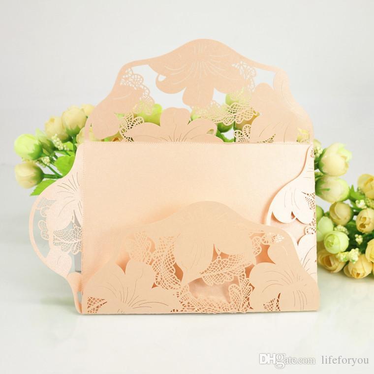Convites de casamento convites de casamento de corte a laser convites de casamento conjuntos Em Branco Com Envelope adesivo dobrável tamanho 4.72x7.08 polegada