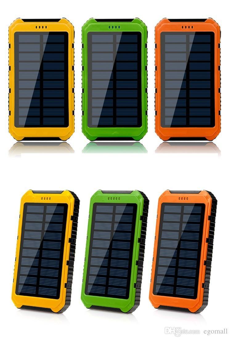 5000mAh Solar IP4X4 Waterproof External PowerBank Battery Pack Dual 5000 mah USB Power bank Charger for cell phones Car Charger