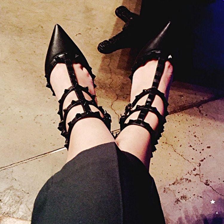 2897478dc7d4 Hot Selling Women Rivets High Heel Sandals Sexy Point Toe High Heels ...